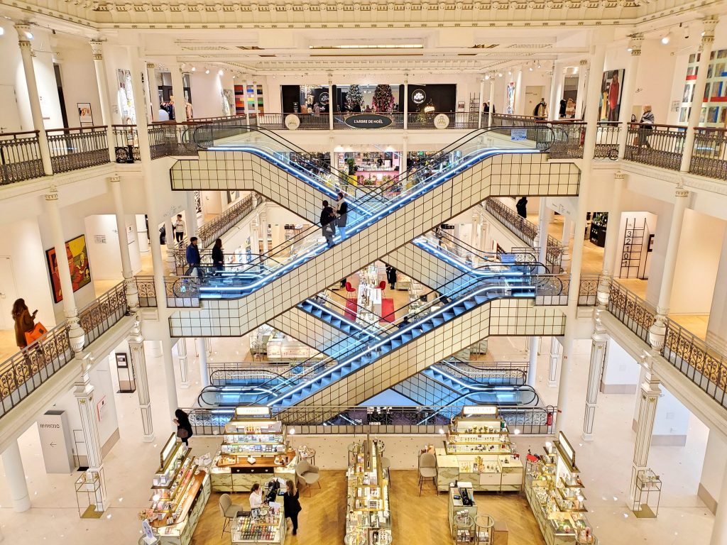 Inside Le Bon Marche in Paris France